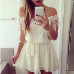 Sweet Boat Neck Lace Splice Chiffon Dress