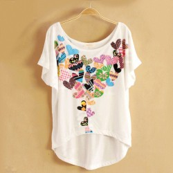 Vintage Flower Printed Bat Short Sleeve T-shirt