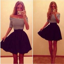 Fashion Stripe Strapless Slim Dress