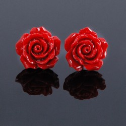 New Sweet Silver Lacquer Coral Rose Flower Earrings