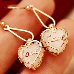 Cute Opal Heart Love Earrings & Eardrop