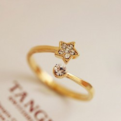 Fresh Cute Diamond Star Opening Ring