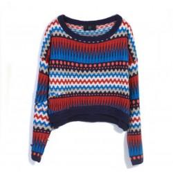 Retro Totem Temperament Bat Sleeve Knit &Sweater