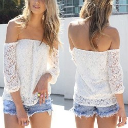Unique Crochet Hollow Boat Neck long-sleeved T-shirt