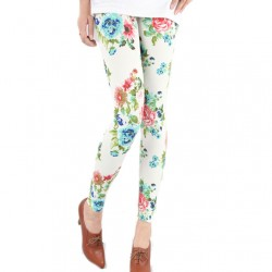 Vintage Fresh Floral Print Graffiti Leggings
