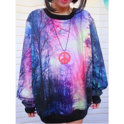 Fashion Universe Star Graffiti Gradient Sleeve Sweater