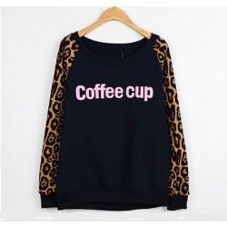Vintage Leopard Print Letters Sweater