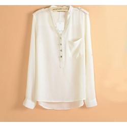 Fashion Epaulette Chock Sleeved Pearl Chiffon Shirt
