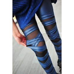 Unique Straps Mesh Leather Lace Leggings