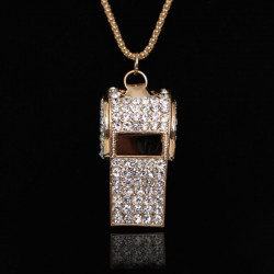 Unique Sweet Rhinestone Whistle Necklace