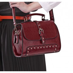 Fashion Wine Red Rivet  Messenger&Shoulder Bag