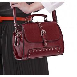 Fashion Wine Red Rivet  Messenger&Shoulder Bag