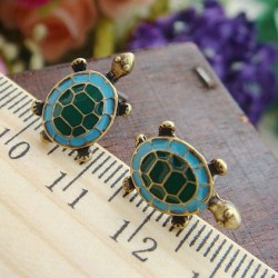 Vintage Cute Animal Turtle Mascot Earring Studs