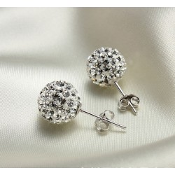New Crystal Ball Rhinestone Silver Earrings&Stud
