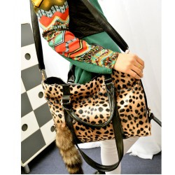 New Fashion Fox Tail Ornaments Leopard Printed Handbag&Shoulder Bag