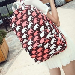 Red Lovely Cartoon Elephant Graffiti Canvas Backpack