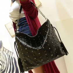 Unique Black Skull Rivets Fringed  Handbag&Shoulder Bag