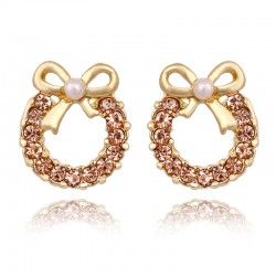 Fashion Pearl Bow Rhinestone Earrings&Stud