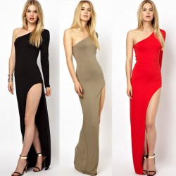 Sexy Shoulder Side Slit Single Sleeve Dress