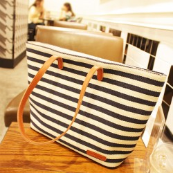 Unique Leisure Navy Strip Printed Handbag