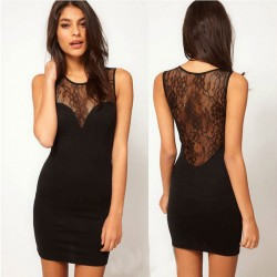 Sexy Perspective Lace Stitching Slim  Halter Dress &Party Dress