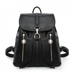 Leisure Travel Soft Leather Rucksack Zipper Women's Shopping Backpacks
