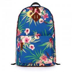 New Fresh Sapphire Blue Flower Folk Style Canvas Backpack