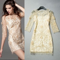 Unique Palace Printed Hollow Out  Embroidered Lace Party Dress &Dress