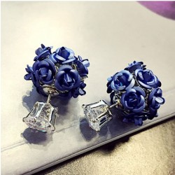 Fashion Flower Bouquet Ball Round Crystal Earrings Studs