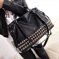 Fashion Rivets Women Leather Shoulder Bag Punk Square Rivet Handbag