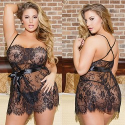 Sexy Large Flower Lace Nightgown Chemise Sleepwear Hollow Sling Women Intimate Lingerie