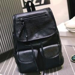 Leisure Black Two Pockets PU School Bag Girl Backpack