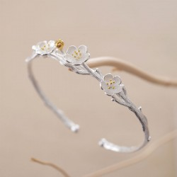 Creative Flower Cherry Branch Silver Open Bracelet Lover Gift Jewelry Women Bracelet