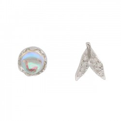 Unique Mermaid Tail Tear Crystal Silver Water Droplets Women Earrings Studs