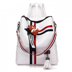 Fashion Stripe Tassel School Bag Multi-function Shoulder Bag Contrast Color Square PU Backpack