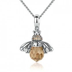 Unique Crystal Bee Pendant Animal Necklace Silver Women Necklace