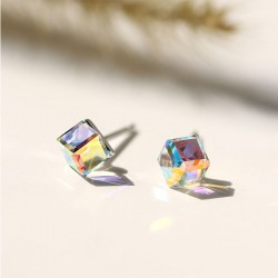 Cute Crystal Square Sugar Cube Silver Women Earrings