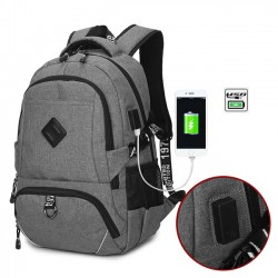 Leisure USB Interface Trunk Simple Travel Rucksack Sport Laptop Bag Large Backpack