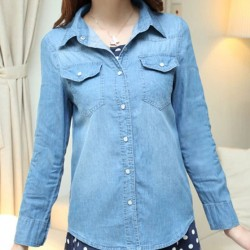 Fashion Style Gradient Washed Denim Slim Shirt