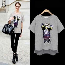 Fashion Irregular Tree-dimensional Crown Dog Loose T-shirt