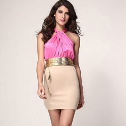 Fashion Exquisite Strapless Halter Slim Sleeveless Dress