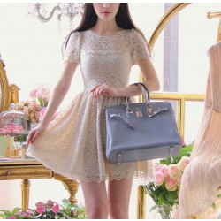 New Sweet Bow Hollow Out Lace Slim Dress