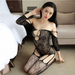 Sexy Siamese Mesh Embroidered Flowers Open Stocking Black Hollow Jacquard Teddy Bodysuit Lingerie Bodystocking