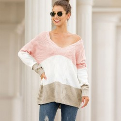 Leisure Strapless Shoulder Loose Twist Long Sleeve Knitting V Collar Stripe Cardigan Women Sweater