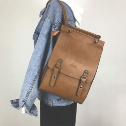 Retro British Style Large PU Bag Double Buckle Women Backpack