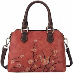 Retro Original Leather Branch 3D Plum Flower Handbag Lady Shoulder Bag