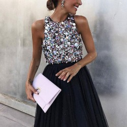 Sexy Prom Dress Halter Black Sleeveless Party Sequin Dress
