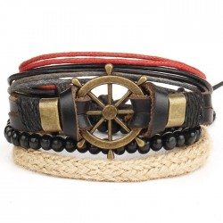 Punk Leather Bracelet Hand Woven Multi-layer Vintage Rudder Bangle Bead Bracelet