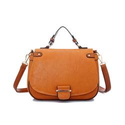 New Vintage Brown Contrast Color Shoulder Bag