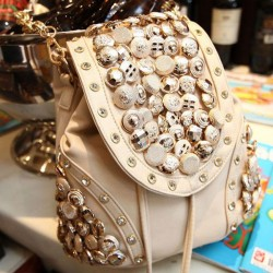 Unique Button Rivet Bucket PU Backpack